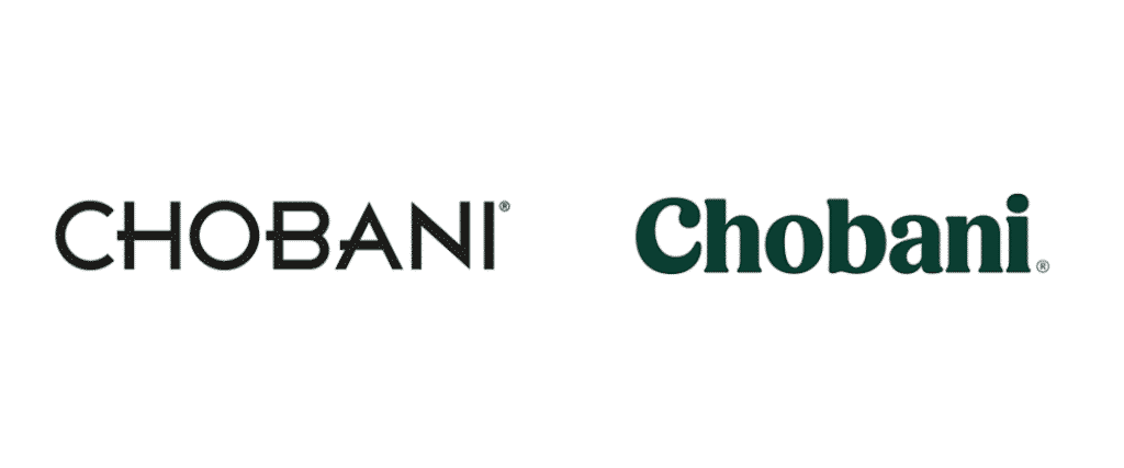 Chobani 2017 rebrand, logo before and after