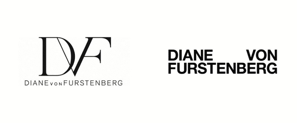 Diane von Furstenberg 2017 rebrand, logo before and after