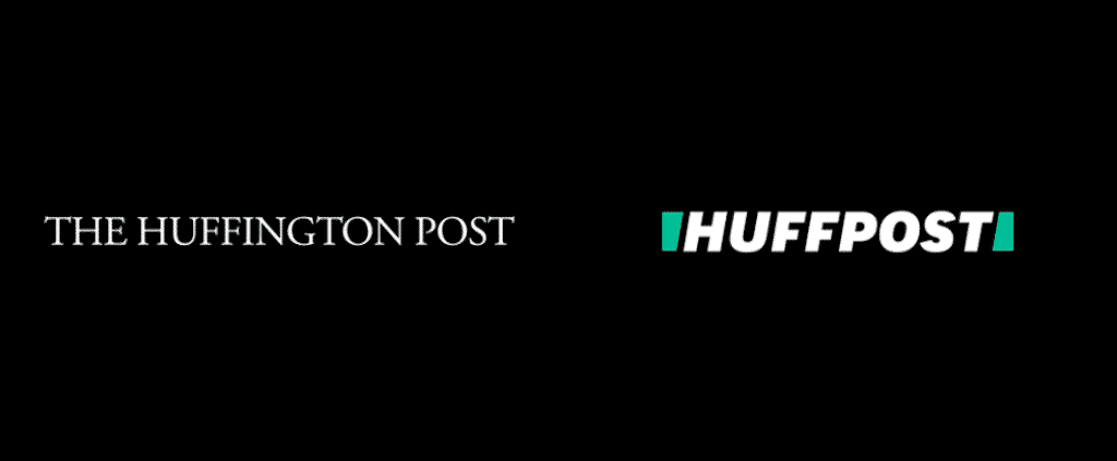 Huffington Post 2017 rebrand, logo before and after