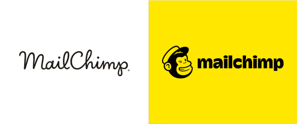 Mailchimp 2018 rebrand, logo before and after