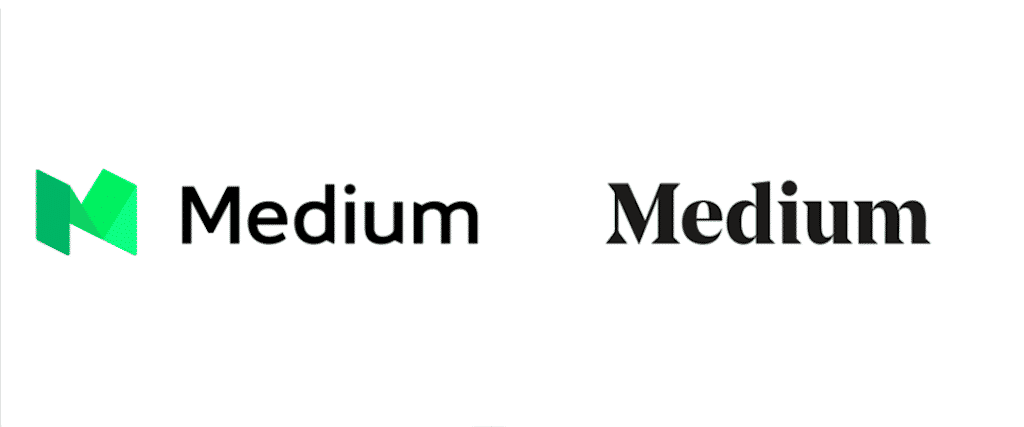 Medium 2017 rebrand, logo before and after