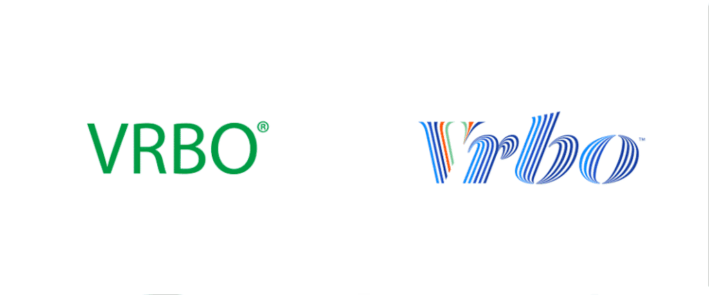 VRBO 2019 rebrand, logo before and after