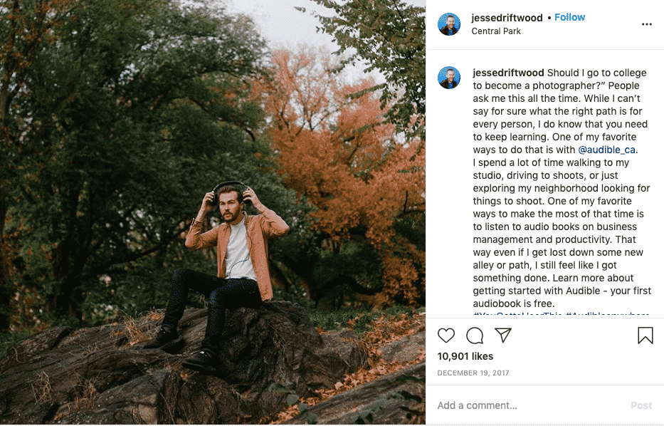 Instagram influencer post - Jesse Driftwood for Audible