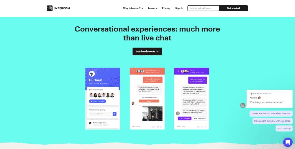 Intercom conversational relationship platform to increase website conversions