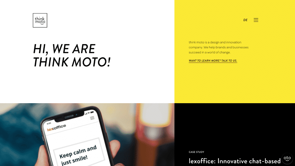 Website design using yellow for colour psychology