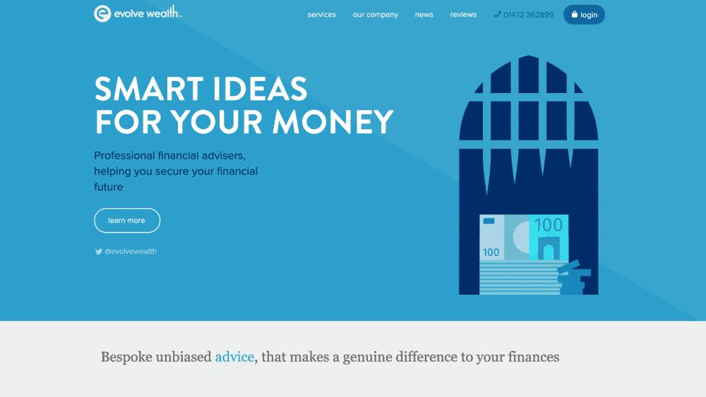 Website design using blue for colour psychology