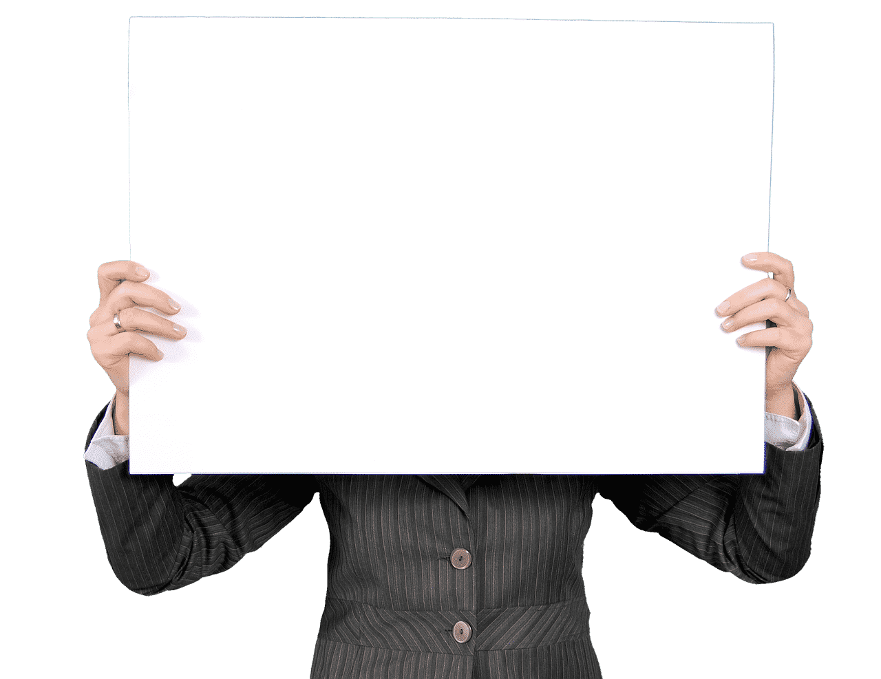 Man holding blank sign with no message