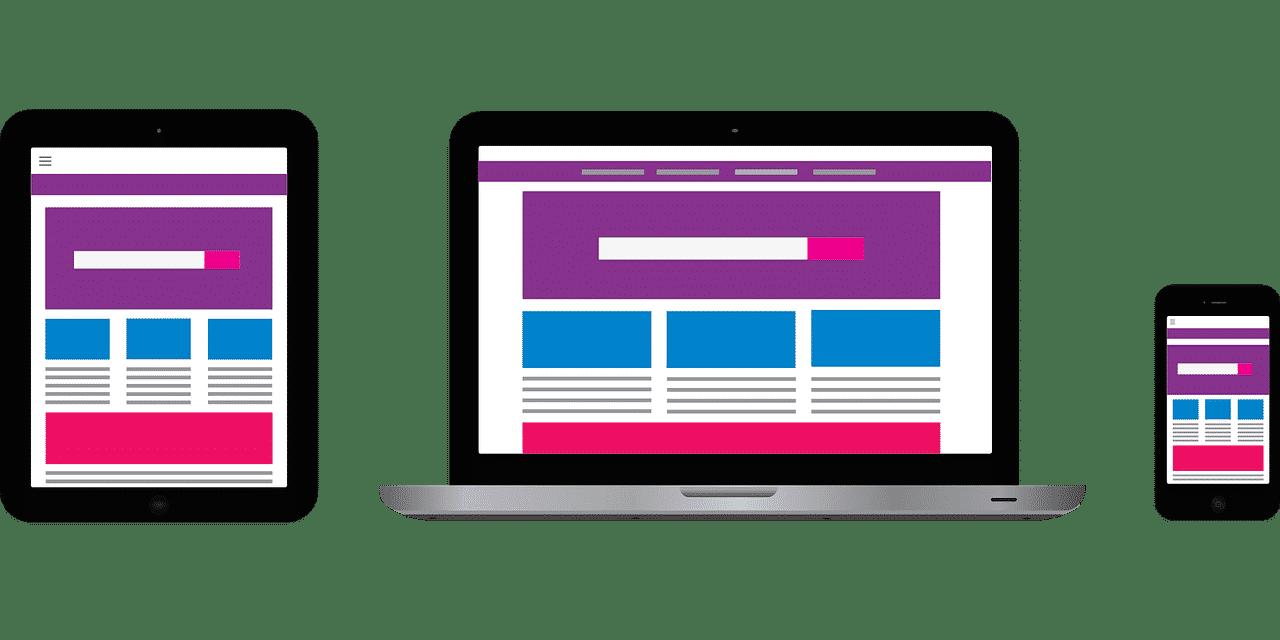 Web design on desktop, mobile and tablet devices