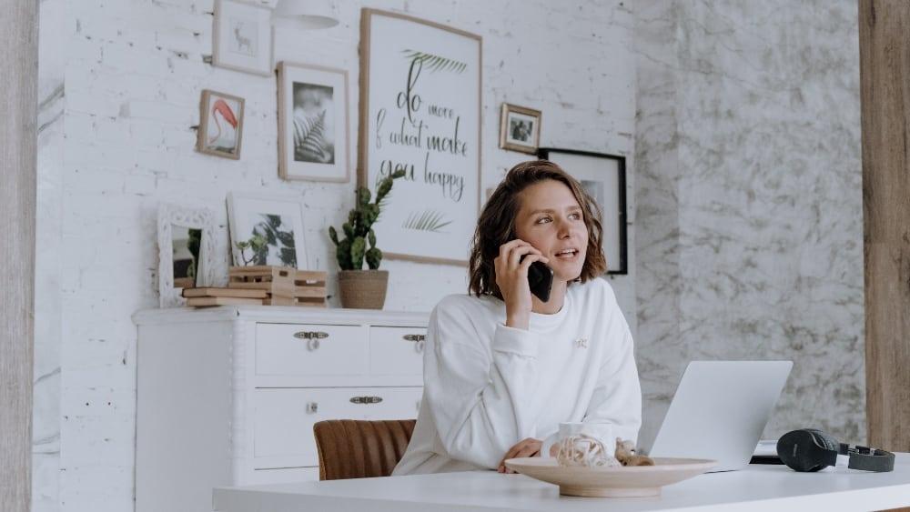 Freelancer on phone working full-time