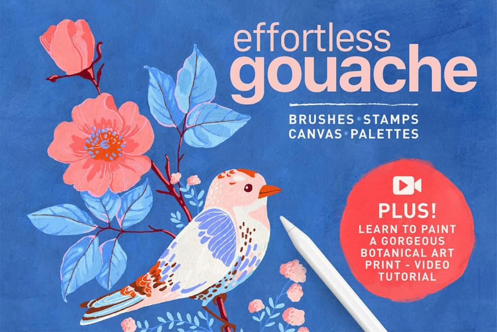 Effortless Gouache Brushes for Procreate