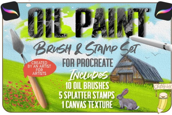 Oil Paint Brush & Stamp Set