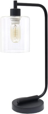 Simple Designs Lantern Glass Shade Desk Lamp
