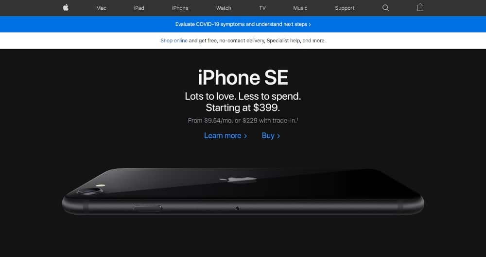 Consistent branding on Apple website