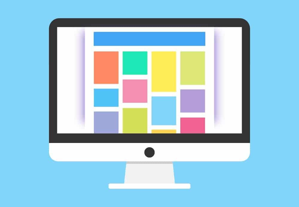 Images in presentation slides on computer screen
