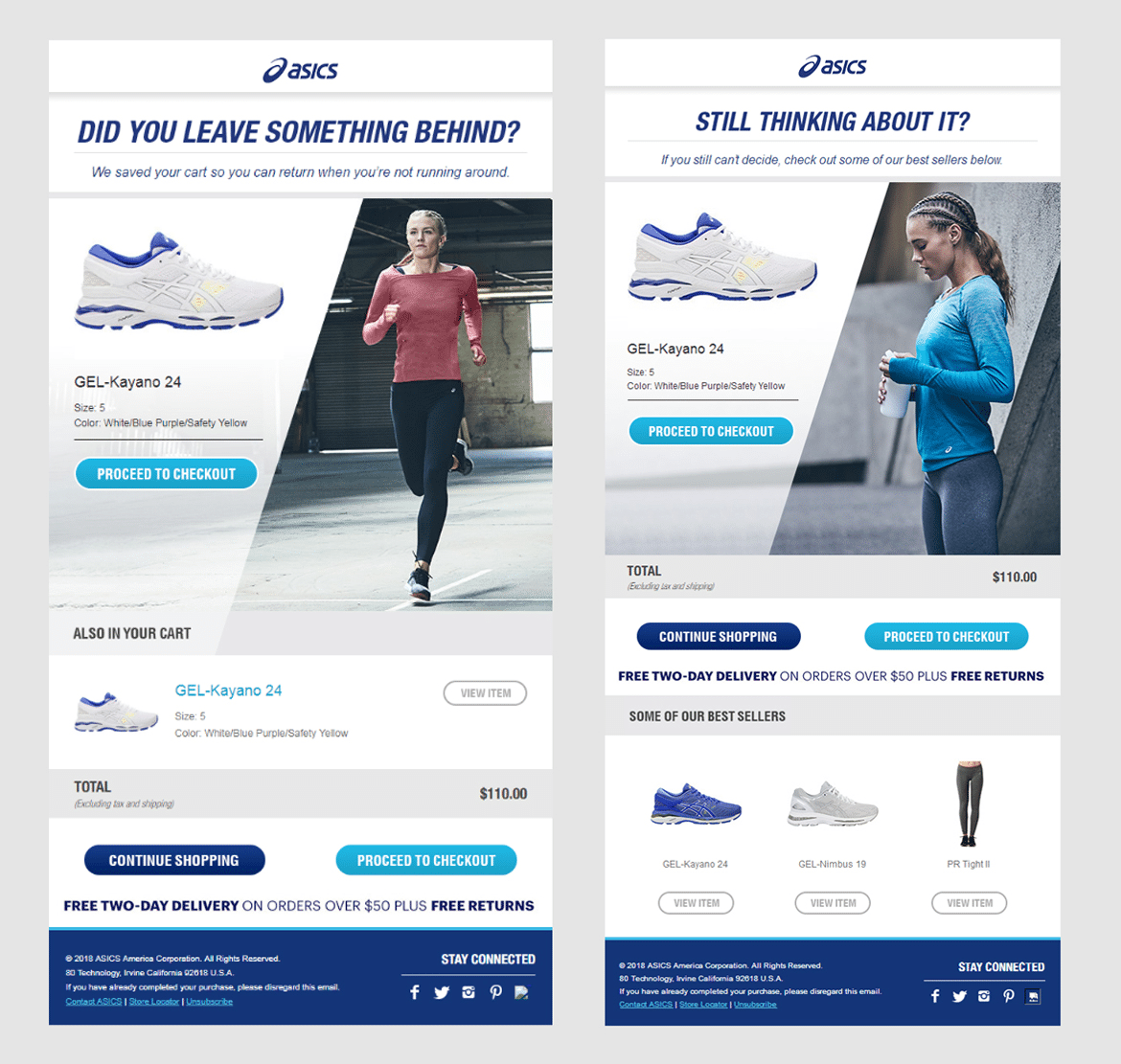 Automated cart abandonment email series Asics