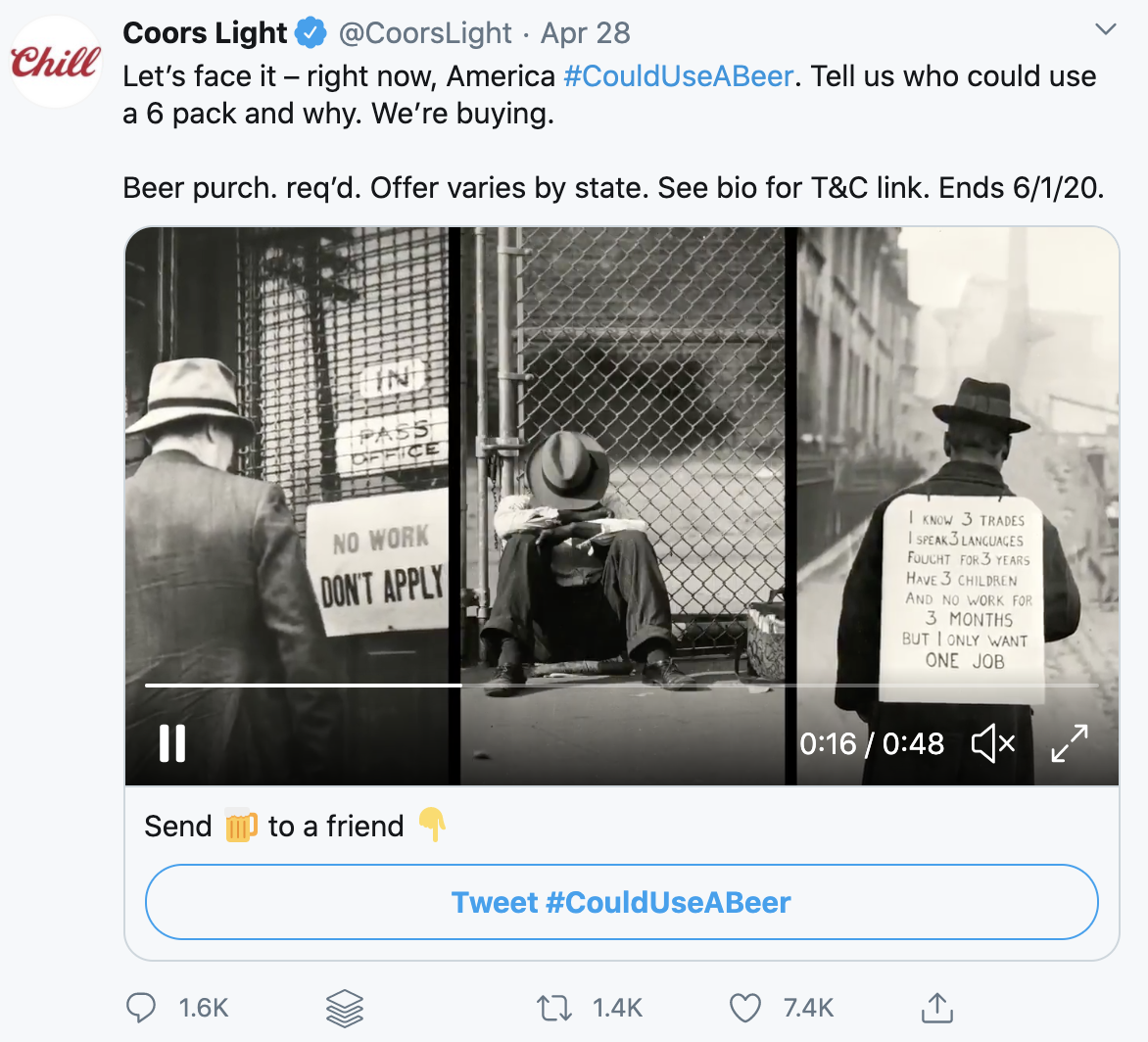 Social media campaign by Coors Light