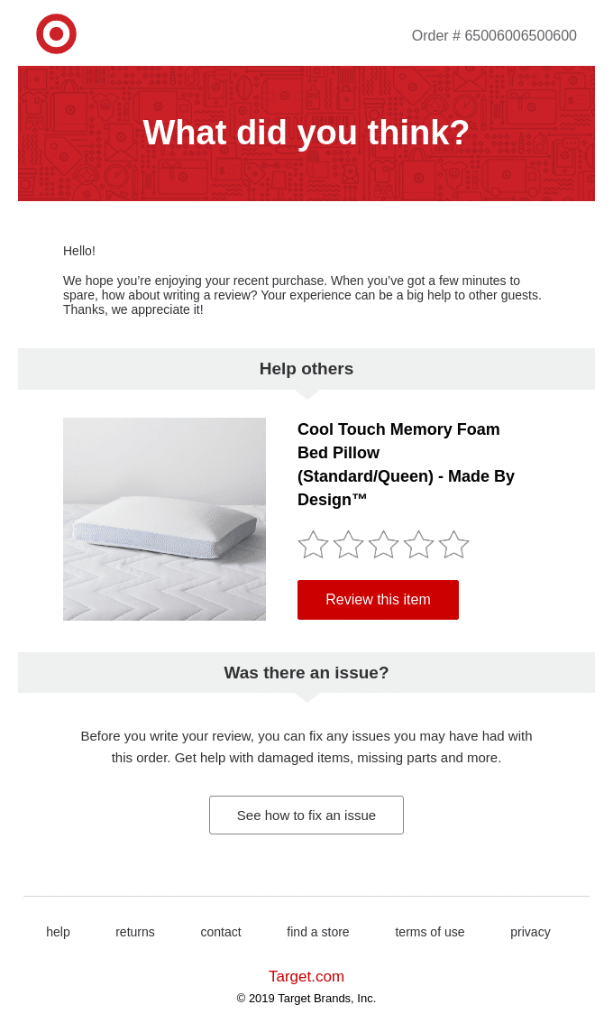 Automated order feedback email
