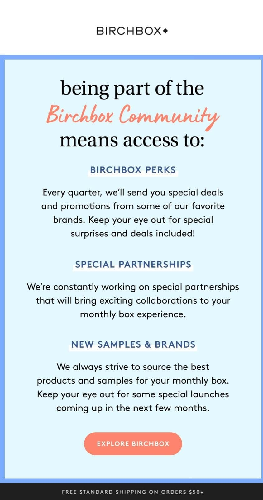Automated welcome email series from Birchbox