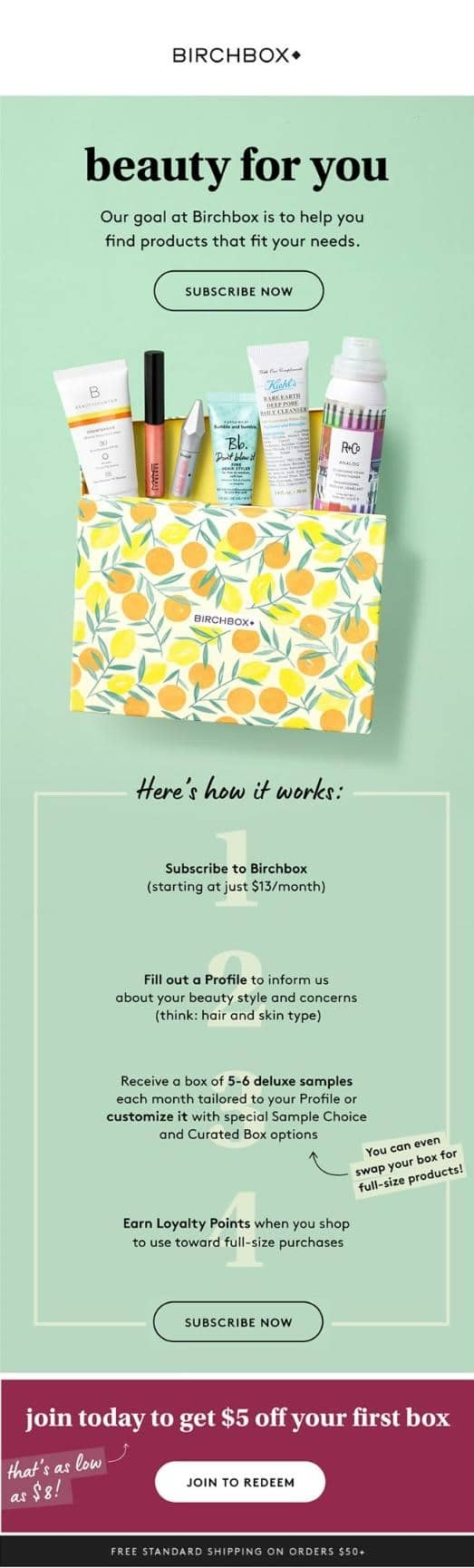 Welcome email series from Birchbox