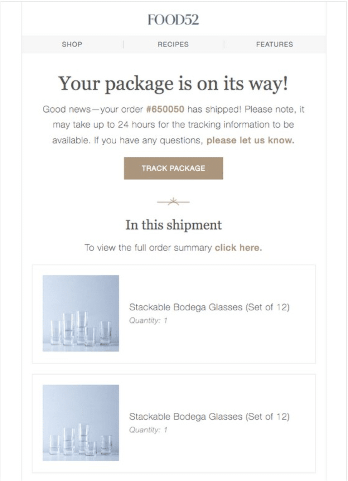 Automated order shipped email