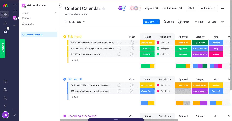 Content calendar using monday.com