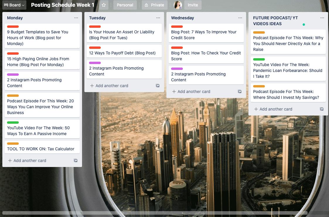 Example of content calendar on Trello