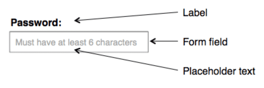 Placeholder text in online forms