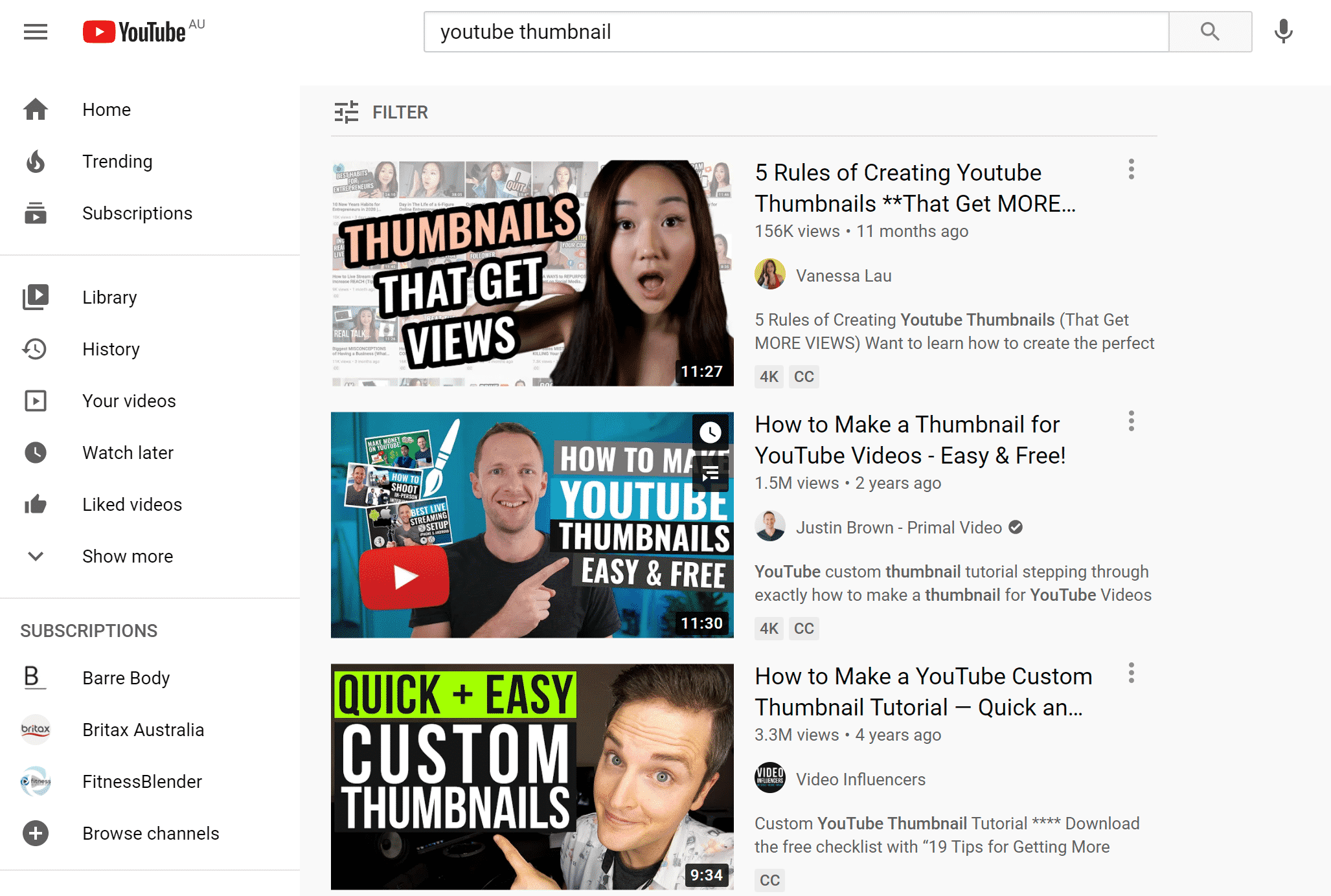 Thumbnails for YouTube videos