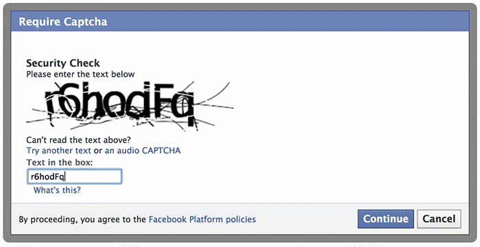 Online form captcha