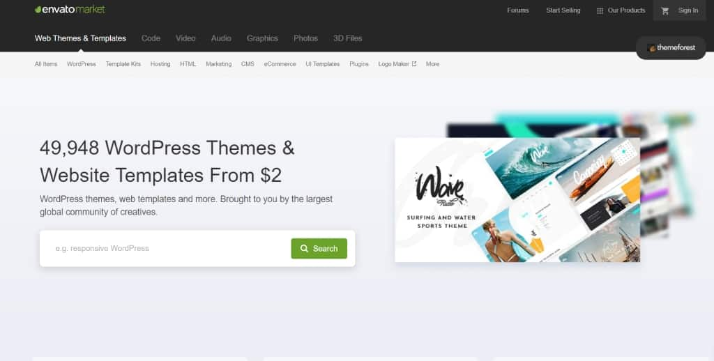 ThemeForest marketplace for seeling graphic design products