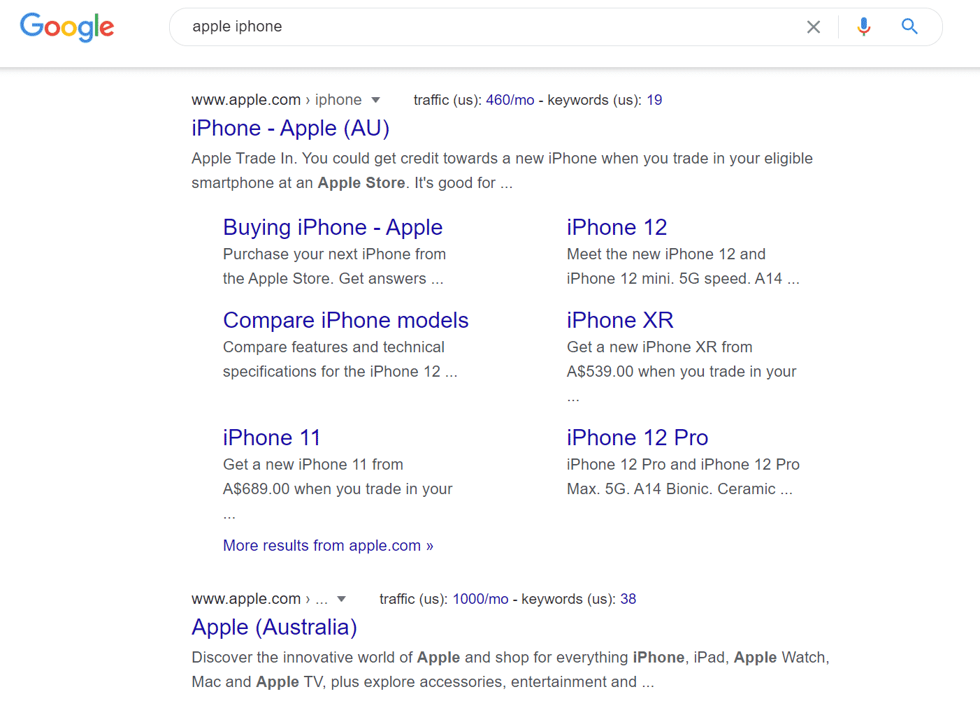 Google SERP for apple iphone