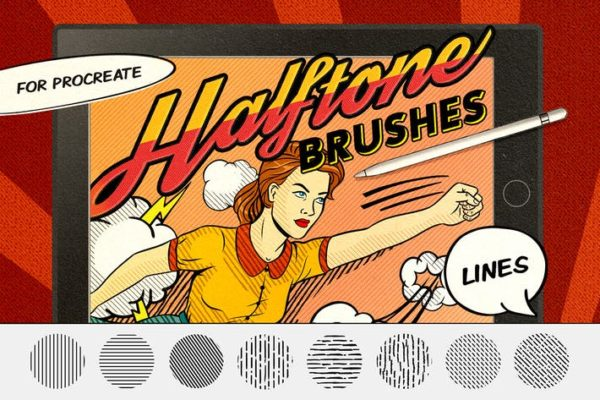 Vintage Comics Line Procreate Brushes