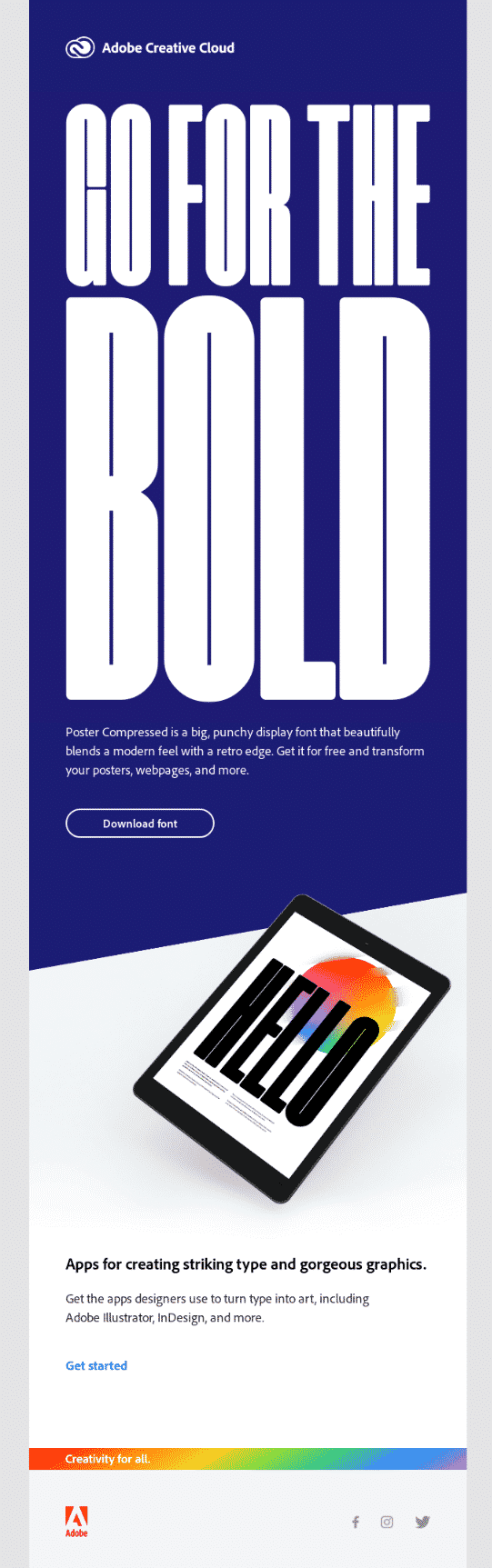 Bold typography - Email Design Trends 2021