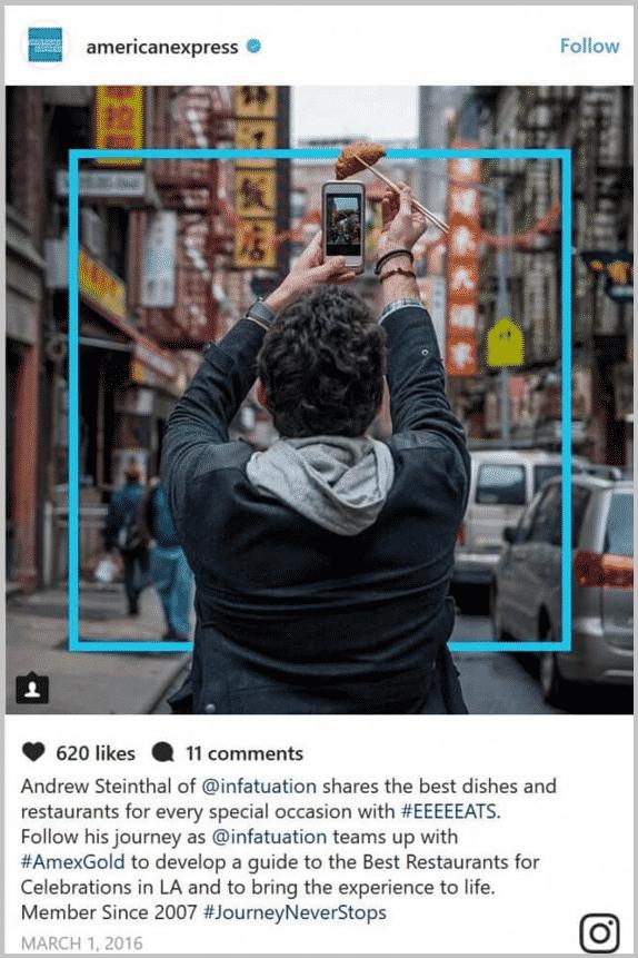 AMEX social media storytelling example