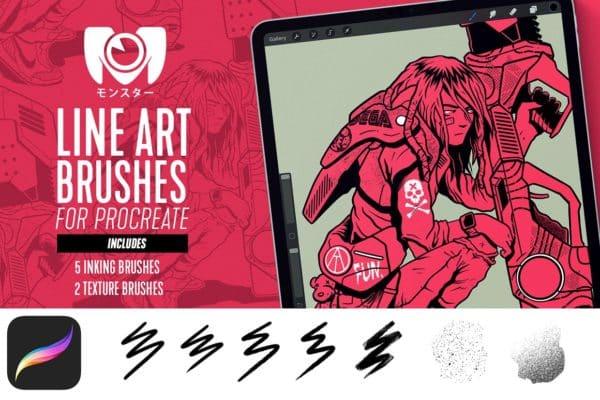 Line Art Brush Set for Procreate