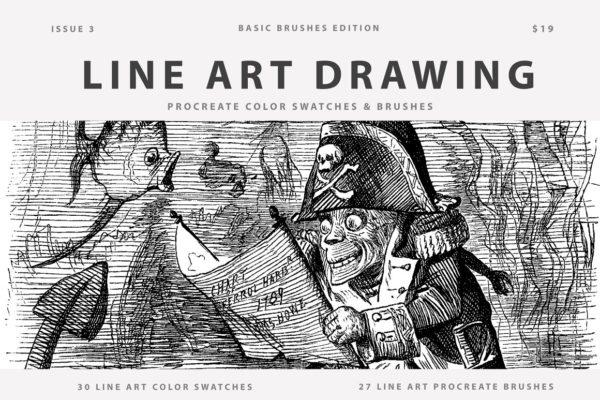 Line Art Drawing Procreate Brushes