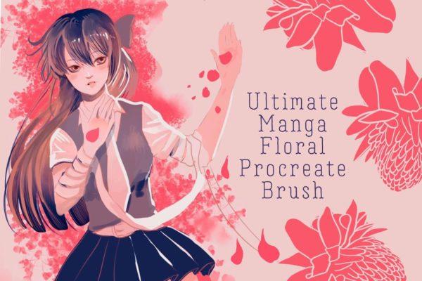 Manga floral procreate brush kit