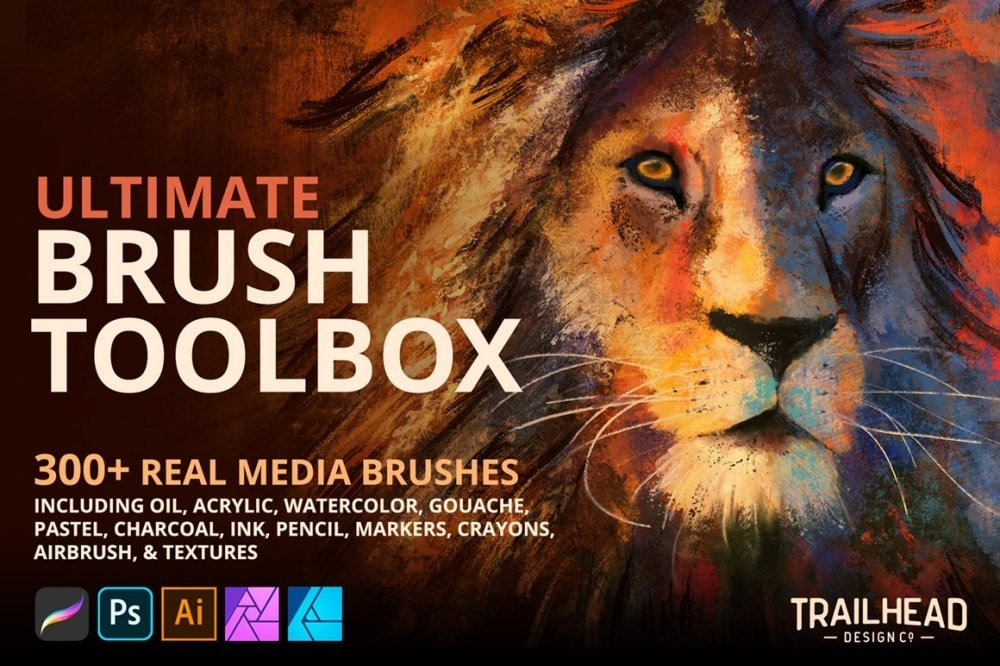 Ultimate Brush Toolbox for Procreate, Photoshop, Illustrator & Affinity
