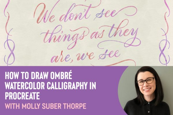 How to Draw Ombré Watercolor Calligraphy in Procreate