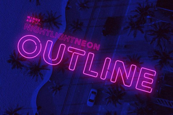 Retro Neon Font - Outline Style