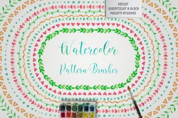 Watercolor and Black Pattern Brushes