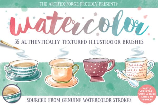 Watercolour: 55 Authentically Textured Illustrator Brushes