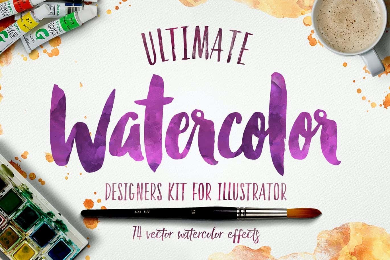 Ultimate Watercolor Designers Kit For Illustrator