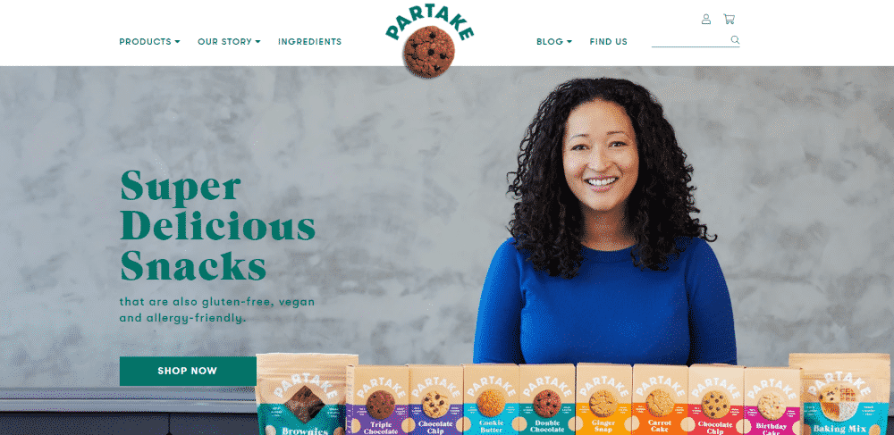 Shopify website example - Partake Foods