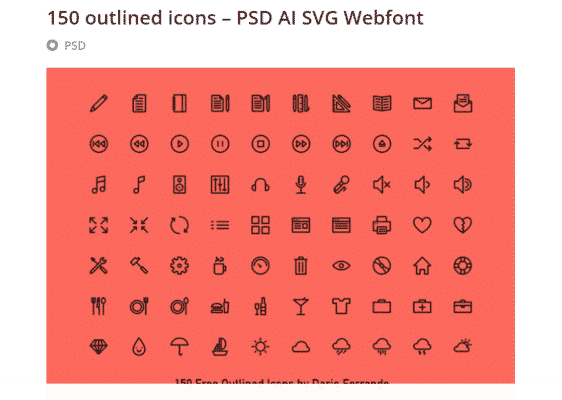 150 outlined icons – PSD AI SVG Webfont