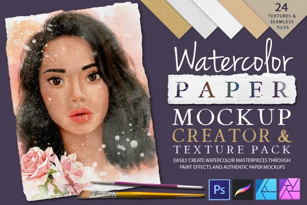 Watercolor Paper Mockup Creator & Texture Pack