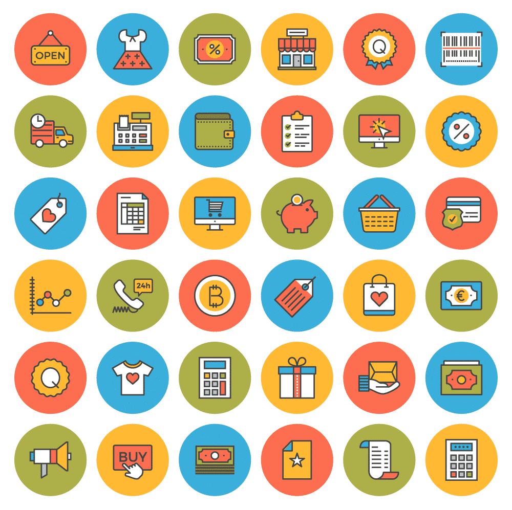 38 Free flat-line e-commerce icons