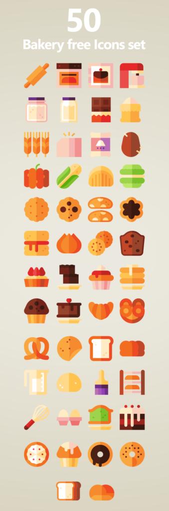 50 Free Bakery icons set