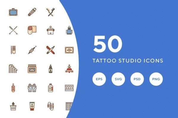 50 Tattoo Studio Icons