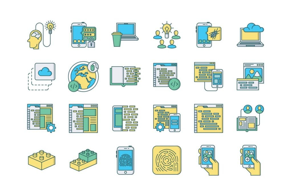 57 Web and Mobile Development Icons